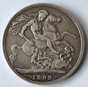 1899 LXII Queen Victoria Jubilee Head Silver Crown Coin L11