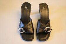 Womens Black Etienne Aigner Slip On Open Toed Sandal W/ Heel Size 6M
