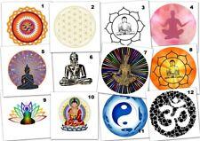 12 oder 24 Aufkleber Etikett Glänzend rund 40mm Esoterik Buddha 12 Motive