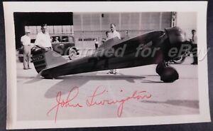 1933 John Livingston Hand Signed Air Race Pilot Wins 80 First Place Races 855
