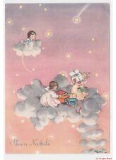 Rosi cielo stelle nuvole angeli pacchetti regalo cartolina vintage Buon Natale