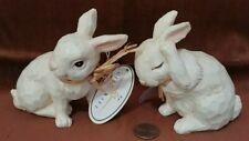 "2 Giftcraft Plaster Carved Look Rabbits 4""-4½ 190413"