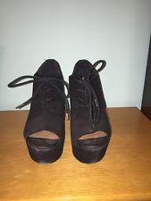 "Steve Madden Women's Size 6.5 ""Windupp"" Black Suede Wedges with Tie"