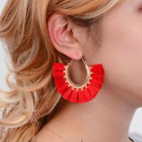 Women Bohemian Long Tassel Earrings Boho Semi-Circle Hoop Dangle Fringe Jewelry
