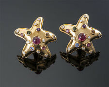 JEFFREY  STEVENS   18K  YG   GEMSTONE   DIAMOND    STAR  EARRINGS