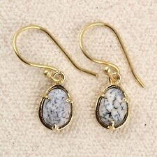 White Dendrite Opal Yellow Gold Plated Handmade Drop Dangle Earrings For Womens