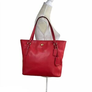 Coach Peyton Red Saffiano Leather Zip Tote Bag Large Carryall