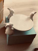 Cute Cake Stand Ceramic Plate Bunny Rabbit Dishes for Dessert Food Server Tray