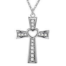 Silver wedding Necklace Jewelry crystal Fashion cross lady Cute women Zircon