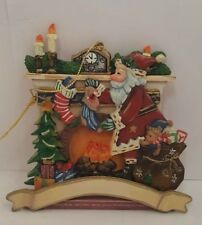 Roman Inc Carved Wooden Santa Fireplace Presents Ornament With Tag!