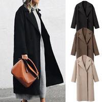 Womens Winter Lapel Wool Coat Trench Jacket Long Parka Overcoat Outwear UK