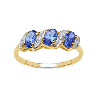 9CT GOLD 0.77ct GENUINE TANZANITE & DIAMOND ETERNITY ENGAGEMENT RING SIZE K to W