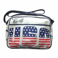 USA White Retro Faux Leather Shoulder Bag 80s Olympics Sports Track Field 1984
