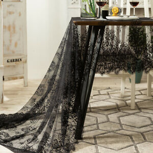 Black Lace Tablecloth Table Runner Coffee Table Cover Wedding Party Home Decor