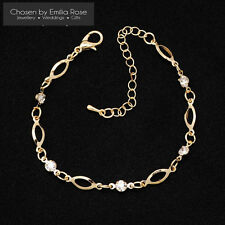 Gold Crystal Charm Ankle or Wrist Bracelet Women Anklet Adjustable Chain Jewelry