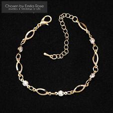 Ladies Gold Crystal Cubic Zirconia Wrist Bracelet Women Adjustable Chain Jewelry