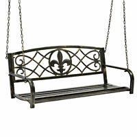 BCP Outdoor Metal Hanging 2-Person Swing Bench w/ Fleur-de-Lis Accents  - Bronze