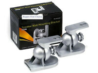 LOT/ PAIR of 2 NEW Black Speaker mount bracket stand surround sound Silver