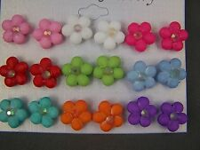"""set pack of 9 pair multi color flower post stud earrings plastic 1/2"""" wide"""