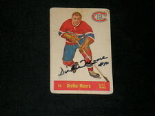 HOF DICKIE MOORE 1957-58 PARKHURST SIGNED AUTOGRAPHED CARD #14 CANADIENS