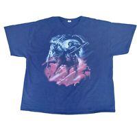 Vintage Y2K T Shirt Mens 3XL Grim-Reaper Horse Graphic Black Short Sleeve