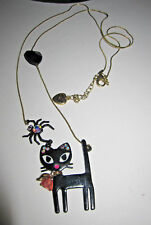 BETSEY JOHNSON VINTAGE VICKY BLACK CAT WITH SPIDER LONG NECKLACE
