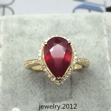 New Solid 14k Yellow Gold 4.0ct Sparkly Blood Red Ruby Good Diamond Fine Ring