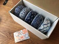 Japanese Arita Porcelain Rice Bowl Set Blue Arabesque