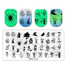 Nail Art Stamping Plates Image Plate HALLOWEEN Spiders Web Witch Bats Cat SPH13