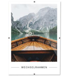 Rahmenloser Bilderrahmen Bildhalter Bildträger mit Clip Rahmen Kunstglas Plexi