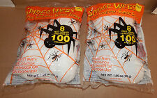 Halloween Spider Webs Super Stretch Scary 8 Feet Long 100 Sq Ft 2 Bags USA 85I