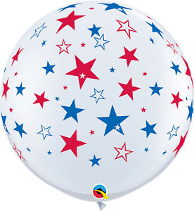 4th OF JULY BALLOONS 3ft 91cm RED & BLUE STARS QUALATEX BALLOONS - TWO BALLOONS
