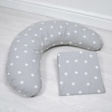 NEW 4BABY GREY / WHITE STARS PREGNANCY / MATERNITY SUPPORT PACK CUSHION & WEDGE