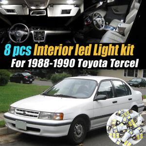 8Pc Super White Car Interior LED Light Bulb Kit for 1988-1990 Toyota Tercel