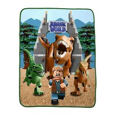 "Lego Jurassic World Park Soft Throw Blanket 40 x 50"" T-Rex Velociraptor Owen New"