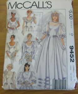 McCALLS PATTERN #9452~MISSES WEDDING DRESS~SIZE 12-14-16~CUT~1985