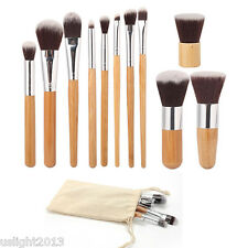 Vander Fashion 11Pcs Bamboo Handle Cosmetic Beauty Make-up Brushes Set Pro Tools