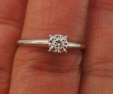 Stunning 14K Wg Round Diamond Engagement Ring .08 ct Sz 8 G113871-2 2.18 grams