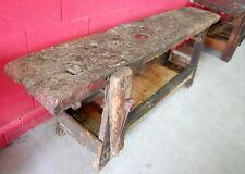 Grande tavolo, banco, bancone da lavoro lungo 215 cm in noce e larice h 77 cm