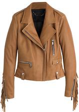BARBARA BUI Fringe veste en cuir UK 8