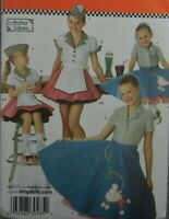 Simplicity 3836 Girls Size 3-6 Poodle Waitress Skirts shirts hats 50s retro