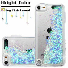For iPod Touch 5th & 6th Generation Blue Hearts Glitter Liquid Waterfall Case+SP