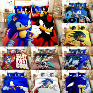Sonic The Hedgehog Anime 3d Bedding Set Duvet Covers Pillowcases Bedclothes Gift