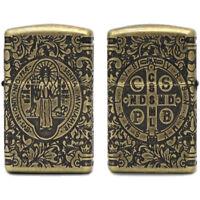 Zippo Lighter St. Benedict Constantine Design with Multi Cut Armor Antique Brass