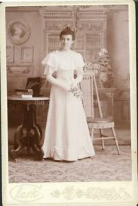 CABINET CARD AS SHE WAS YOUNG WOMAN FOUND PHOTO bw FREE SHIPPING 18 31 J