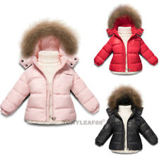 Kids Toddler Boys Girls Puffer 90% Duck Down Fur Hooded Outwear Ski Jacket Coat