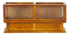 Dollhouse Miniature Display Showcase Case Walnut Wood Store  1:12 Scale