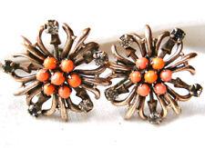 Vintage Ohrschrauben in Gold-Farbe mit Korallen und Edelsteinen ?