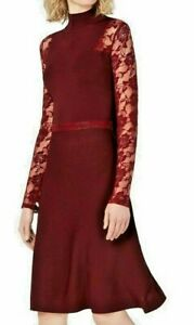 INC Women's Port Lace-sleeve Mock-neckline Knit A-Line Dress SIZE L GLAM REFRESH