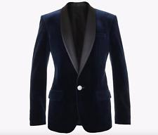 NWT Balmain Blue Velvet Satin Shawl Lapel Tuxedo Blazer Jacket Sz 48 US 38 $3295
